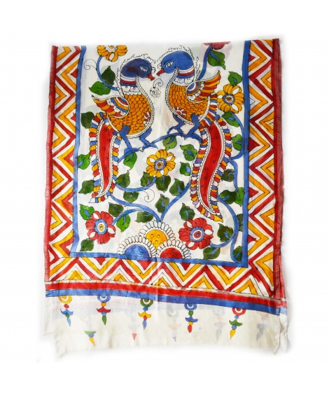 Off-White Peacock Colorful Hand Painted Chanderi Silk Stole